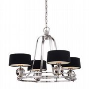Gotham 4 Light Fitting in Imperial Silver complete with Black Fabric Shades - QUOIZEL QZ/GOTHAM4